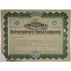 Independence Trust Co., ca.1910-20 Original Artwork Mockup Stock Certificate