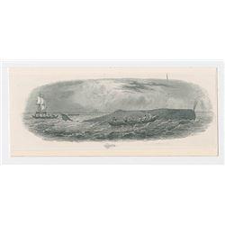 Whaling Proof Custom Vignette Used on Obsolete Banknote, ND (ca.1840-50's) Proof Vignette