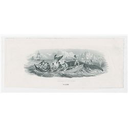 Whaling Proof Vignette Not Known Used on Obsoletes, ND (ca.1840-50's) by RWH&E
