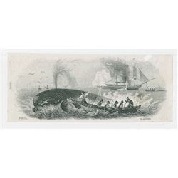 Whaling Proof Vignette Similar to Garneray Painting used on Obsolete Notes, ND (ca.1850's)