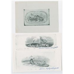 Whaling Proof Vignette Trio, ND (ca.1840-50's possibly reprinted 1900-1950)