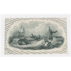 Whaling Proof Vignette Used on City Bank of Providence, R.I. $2 Obsolete but More Engraved Detail, N