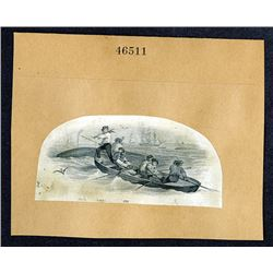 Historic Whale Hunting Scene, ca. 1840-50 Used on Obsolete Banknotes & Fiscal Documents.
