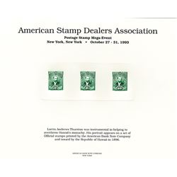 ABNC Intaglio Printed Republic of Hawaii Department Official Stamps From the A.S.D.A. NY Meeting,19