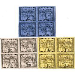 Panama, 10-12, 1887-88 5c-20c Map Blocks