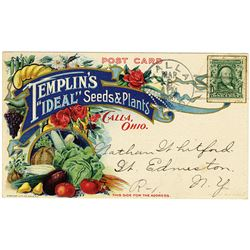 Colorful, Templin's Ideal seeds, Advertising Post Card. Scott 300, 1902 1c Green