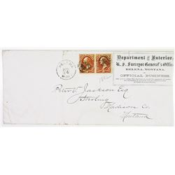 Helena, Montana Territory Official cover Stamped with Pair of O17, 1873 3c Interior