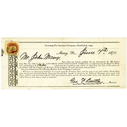 Lycoming Fire Insurance Co,1870 Cover with Scott 112, 1869 1c Buff