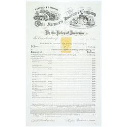 Ohio Farmers Insurance Company insurance policy, 1869 with Imprinted Revenue RN-T6, 25c Orange