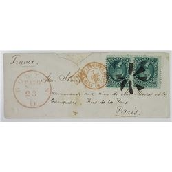 Trans Atlantic envelope to France, 68, 1861 10c Green