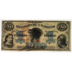 Banco Oxandaburu y Garbino Provisional Issue Banco Domingo Garbino. 1869. Issued Banknote.