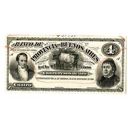 Banco De La Provincia De Buenos Aires, 1883 Proof  Banknote.