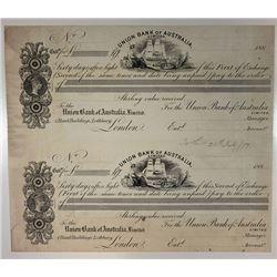Australia. Union Bank of Australia 1883 Uncut Sheet of 2 Proof Exchange Cert PB