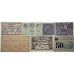 Gmunden, Molln, Rabenstein, Schwertberg, Wien & Wimpassing. 1920s. Lot of 11 Issued Notgeld.