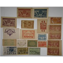 Various Austrian Authorities. 1920s. Lot of 18 Notgeld Proofs, Errors or Printer's Waste Notes.