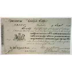 Colonial Bank, 1871, 2nd of Exchange I/U Bill of Exchange.