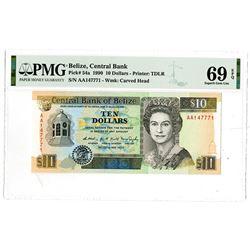 Central Bank of Belize. 1990. Highest Graded Issued Banknote.