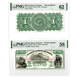 "Banco Nacional de Bolivia. ND (ca. 1874). ""Antofagasta""  Front & Back Proof Banknote Pair."