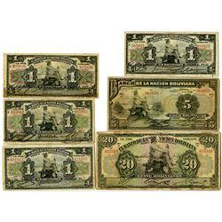 Banco de la Nacion Boliviana. 1911. Lot of 6 Issued Notes.