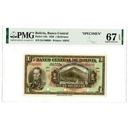 Banco Central De Bolivia, 1928 Specimen Banknote.