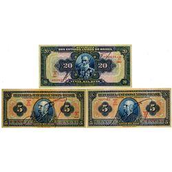Republica Dos Estados Unidos Do Brasil, 1925 & 1931 Banknote Trio.