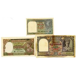 Military Administration of Burma. ND (1945). Trio of Issued Notes.