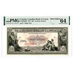 Canadian Bank of Commerce, 1917, Specimen Banknote.