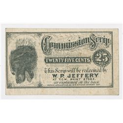 Tiffany Bro's Commission Scrip Issued by W.P. Jeffery, ND (ca.1870's) 25 Cents Scrip Note.