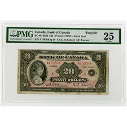 "Bank of Canada, 1935 ""English"" Issue Banknote."
