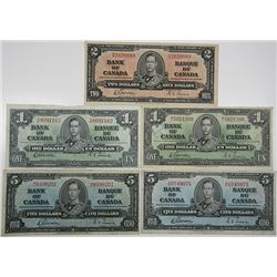 Bank of Canada. 1937. Lot of 5 Issued Notes.