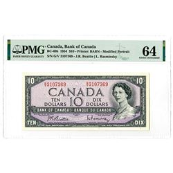 "Bank of Canada. 1954. Issued ""Modified Portrait"" Banknote."