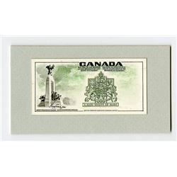 Banque of Canada, ca.1960-70 Miniature Mock-up with Original Artwork Proof Design Essay for Banknote