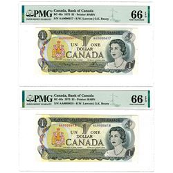 Bank of Canada. 1973. High Grade Low Serial number Sequential Issued Notes.