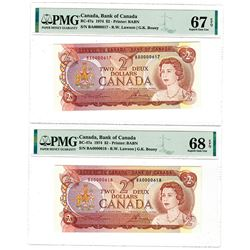 Bank of Canada. 1973. High Grade Lot Serial number Sequential Banknote Pair.