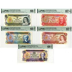 Bank of Canada. 1973. Lot of 5 Issued Notes With Low Matching Serial Numbers.