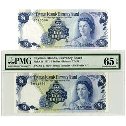 Cayman Islands Currency Board, 1971 Issue Banknote Pair.