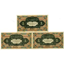 Russo-Asiatic Bank in Harbin. ND (1917). Trio of Issued Notes.