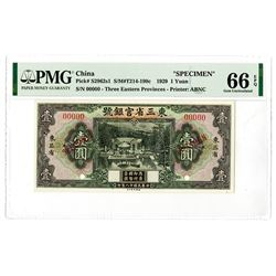 Provincial Bank of the Three Eastern Provinces. 1929. Specimen Banknote.