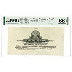 Banco Dugand. ND (1921-22). Front Progressive Proof Banknote.