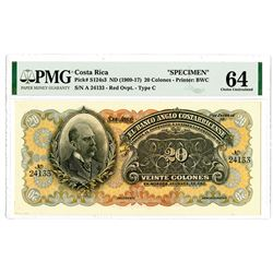 Banco Anglo Costarricense, ND (1909-17), 20 Colones Specimen banknote.