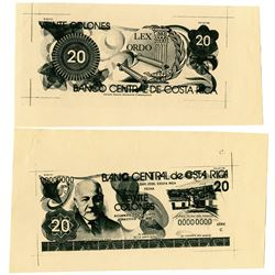 Banco Central de Costa Rica. 1971. Lot of 2 Proof Notes.