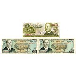 Banco Central De Costa Rica, 1974 Banknote Trio.