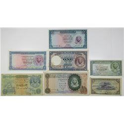 National Bank of Egypt & Central Bank of Egypt. 1943-1967. Lot of 7 Issued Notes.