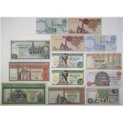Central Bank of Egypt. 1970s-1980s. Lot of 12 Issued Notes.
