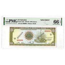 Banco Central De Reserva De El Salvador, 1977 Specimen Banknote.