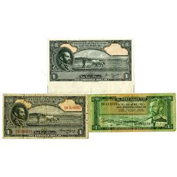 State Bank of Ethiopia & National Bank of Ethiopia. 1945-1966. Trio of Issued Notes.
