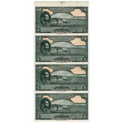 State Bank of Ethiopia, ND (1945) Specimen uncut Strip of 4 notes.