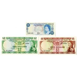 Government of Fiji & Isle of Man Government. ND (1969)-ND (1979). Trio of Issued Notes.