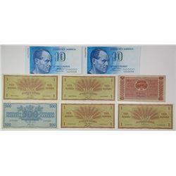 Soumen Pankki. 1963-1998. Lot of 8 Issued Notes.