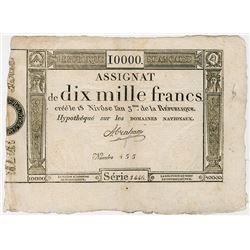 Republique Francais, 1795 Franc Issue, Black Printing.